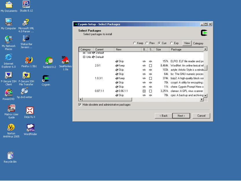 "Screen shot of ""Select Packages"" window of Cygwin Setup program showing the Util packages tree expanded and the binaries selected for the package clamav."
