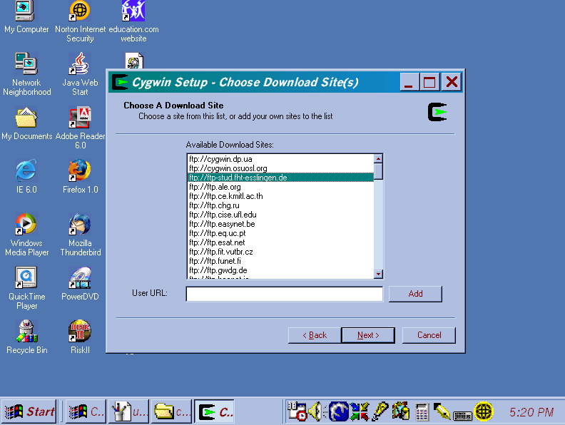 "Screen shot of ""Choose Download Site(s)"" window of Cygwin Setup program showing the site ftp://ftp-stud.fht-esslingen.de selected."