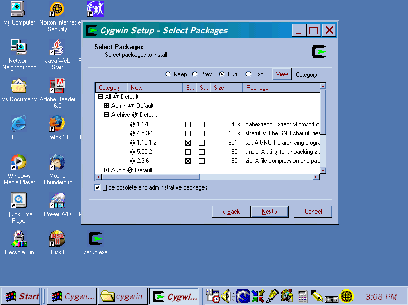 "Screen shot of ""Select Packages"" window of Cygwin Setup program showing the Archive packages tree expanded and the binaries selected for the packages cabextract, sharutils, tar, and zip, but not unzip, and with none of the source packages selected."