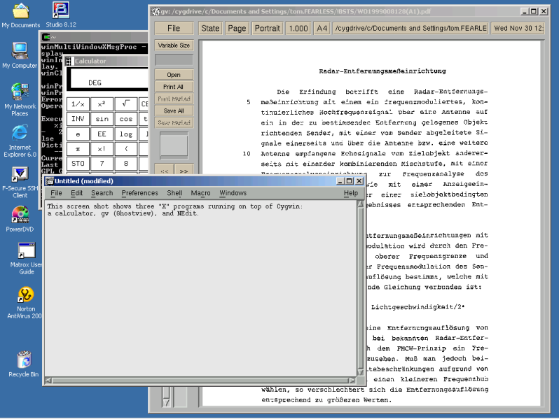 "Screen shot showing 3 ""X"" applications — a calculator, NEdit, and Ghostview — launched from Cygwin running on Windows 2000; Ghostview is displaying a pdf file of a German-Language international patent application."